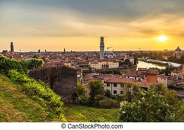 Verona at sunset in Italy - Panoramic view of Verona at...