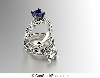 Engagement Ring with sapphire - Golden Engagement Ring with...