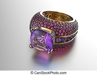 Golden Engagement Ring with amethyst Jewelry background