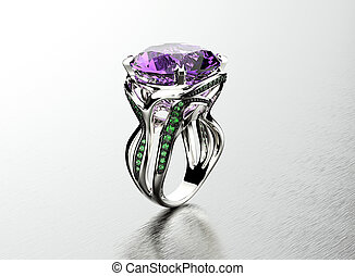 Golden Ring with amethyst Jewelry background - Golden...
