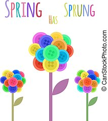 buttons flower Spring has sprung - Abctract buttons flower...