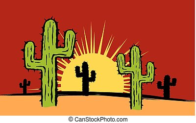 Cactus and Sun Background