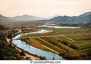 Croatian landscape view on Neretva river with mountains and...