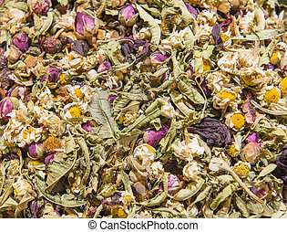 Closeup of dried flowers at a market stall - Closeup detail...