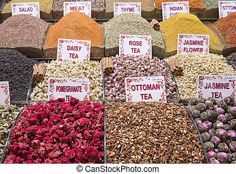 Selection of herbal teas at a market stall - Variety...