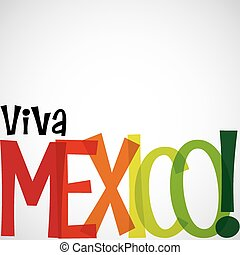 Bright typographic Viva Mexico card in vector format