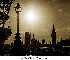 London, UK Houses of Parliment in Silhouette - London,...