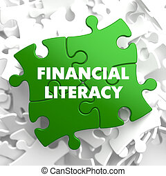 Financial Literacy on Green Puzzle. - Financial Literacy on...