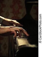 piano, Música, pianista, Manos, juego,