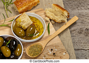 Bread with olive oil - Italian food Bread with Olive Oil...