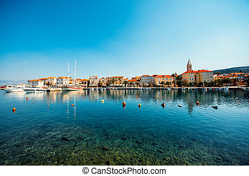 Supetar city in Brac island, Croatia. View from the sea.