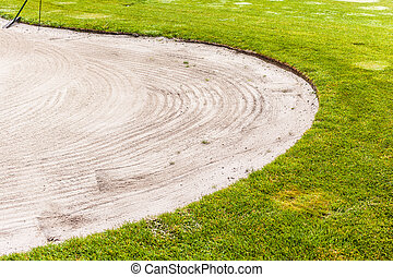 Golf Sand trap - a sand trap bunker in a beautiful golf...