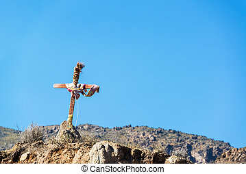 Colca Canyon Cross - Small cross on the edge of Colca Canyon...