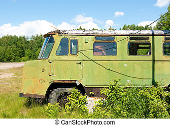 old forgotten russian truck
