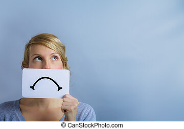 Unhappy Portrait of someone Holding a Sad Mood Board -...