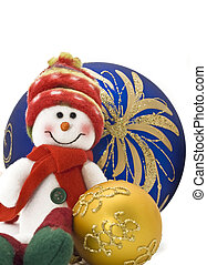 Cuddly Christmas decoration toy with colorful New Year Balls...