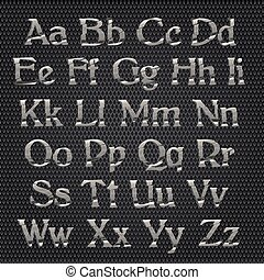 Chrome alphabet on metallic grid background