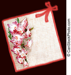 Greeting floral card  with pink orchid flowers ,ribbon and bow