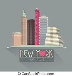 new york skyline travel symbol