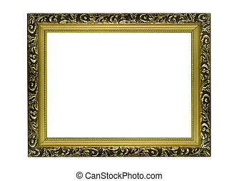 Empty Horizontal golden Frame for picture or portrait