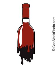 Bottle of red wine - fluid bottle of red wine