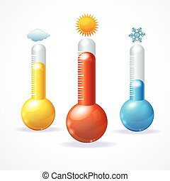 Vector thermometr icon set - Vector illustration thermometr...