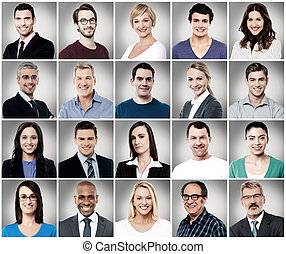 Composition of attractively smiling people - Composition of...