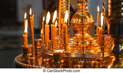 The candles in Russian orthodox Church bokeh