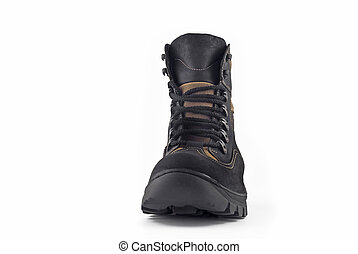 Front view of Warm leather boot for wearing in winter or...