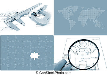 Global Engineering Concept. Two photo and two illustration...