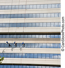 Three Window Washers on Ropes - Window washers hanging from...
