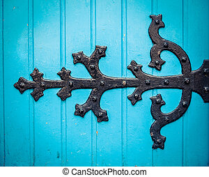 Ornate Hinge On Blue Church Door - Vintage Ornate HInge On A...