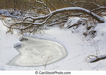 River in winter forest, ice, snow, landscape, nature