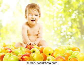 bebê, Menino, comer, alimento, saudável, dieta, frutas, Ativo, crianças, criança