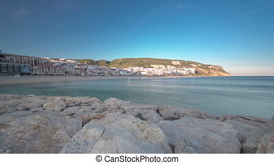 Sunset at Small town of Sesimbra (Portugal), panorama...