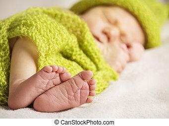 Nowo narodzony, niemowlę, Feet, nowy, urodzony, dziecko,...