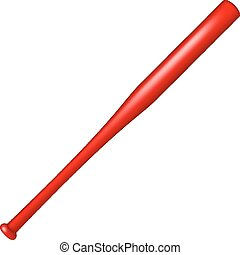 Baseball bat in red design on white background