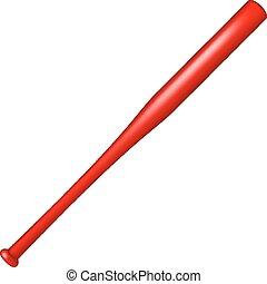 Baseball bat in red design on white background
