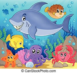 Image with shark theme 7 - eps10 vector illustration.