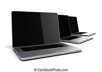 3d render of laptops on white background