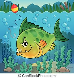 Piranha fish underwater theme 1 - eps10 vector illustration