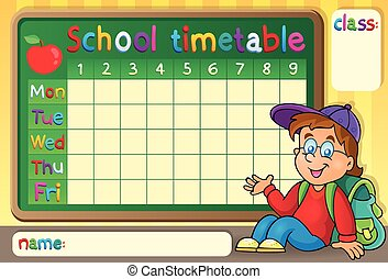 School timetable with happy boy