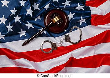 Gavel over american flag