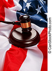 Gavel over american flag