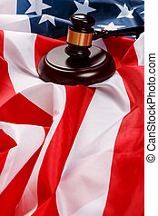 Gavel over american flag - Judge gavel over american flag