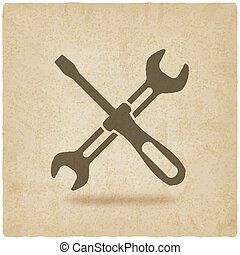 screw driver and wrench symbol old background - vector...