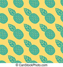 pineapple tropical fruit seamless pattern - vector...