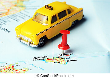Menorca Island ,Spain map taxi - Close up of Menorca island...
