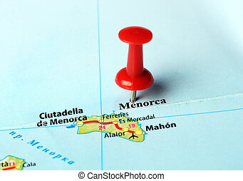 Menorca Island ,Spain map - Close up of Menorca island ,...