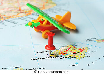 Palma de mallorca ,Spain map airplane - Close up of Palma de...